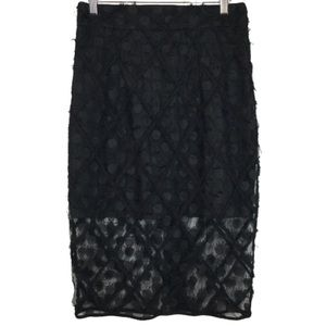 NWT Milly Polka Dotted Mesh Overlay Pencil Skirt